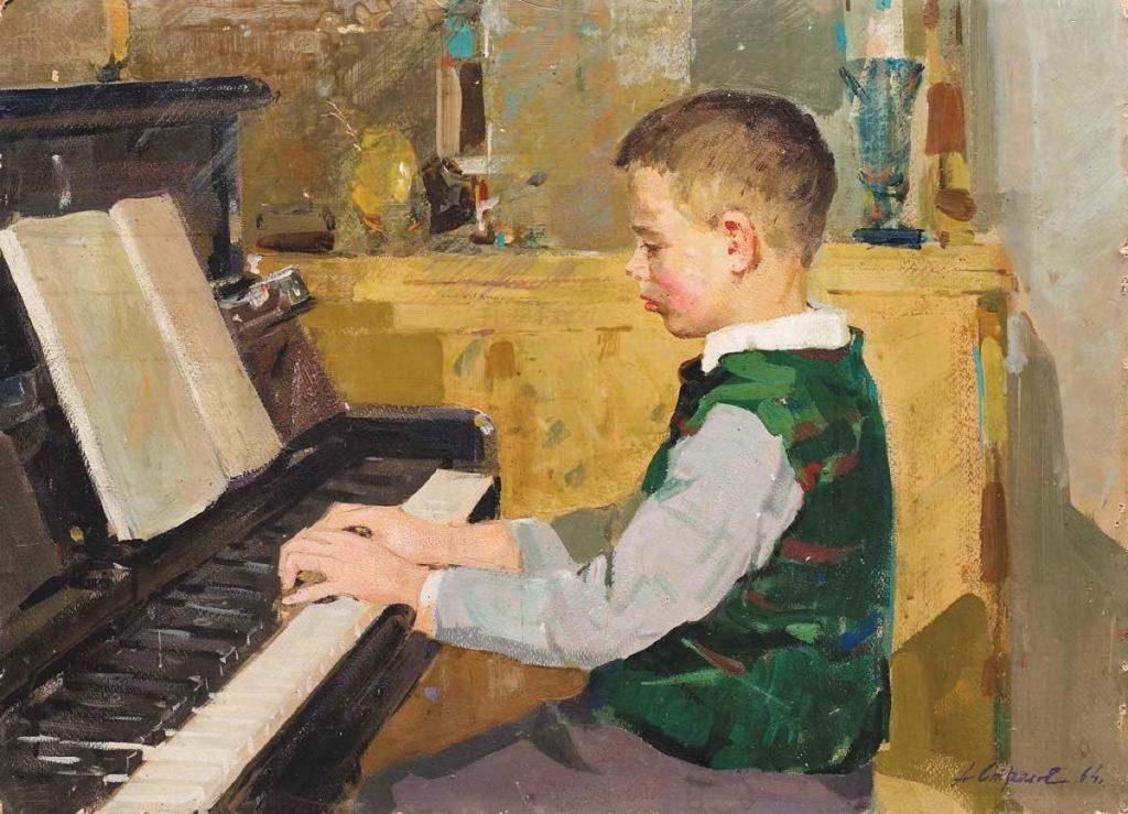 Стрелов Аркадий Ефимович (1923 – 1994) «Мальчик за фортепиано», 1964 г.
