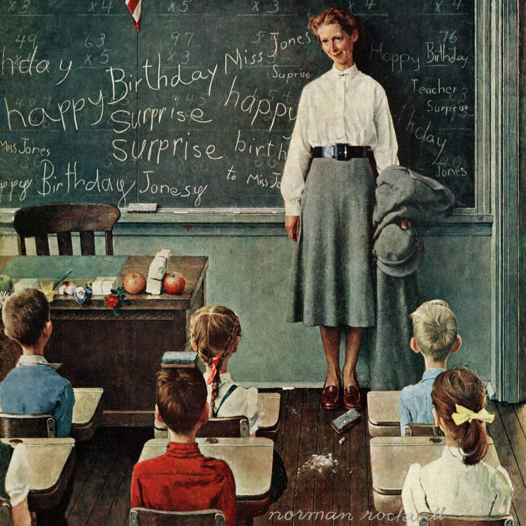 """Норман Рокуэлл """"С днем рождения, мисс Джонс"""", 1956 г."""
